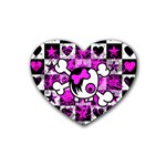 Emo Scene Girl Skull Rubber Coaster (Heart)