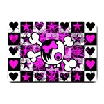 Emo Scene Girl Skull Small Doormat