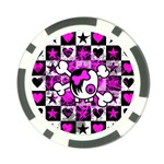 Emo Scene Girl Skull Poker Chip Card Guard