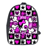 Emo Scene Girl Skull School Bag (Large)