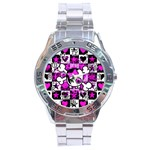 Emo Scene Girl Skull Stainless Steel Analogue Men's Watch