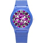 Emo Scene Girl Skull Round Plastic Sport Watch Small