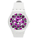 Emo Scene Girl Skull Round Plastic Sport Watch Medium