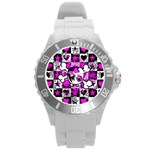 Emo Scene Girl Skull Round Plastic Sport Watch Large