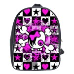 Emo Scene Girl Skull School Bag (XL)