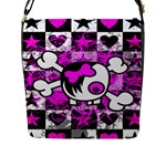 Emo Scene Girl Skull Flap Closure Messenger Bag (Large)