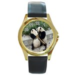 Let Me Kiss You Pandas In Love Round Gold Metal Watch