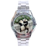 Let Me Kiss You Pandas In Love Stainless Steel Analogue Men's Watch
