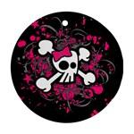 Girly Skull & Crossbones Ornament (Round)