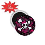Girly Skull & Crossbones 1.75  Magnet (10 pack)