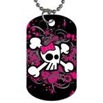 Girly Skull & Crossbones Dog Tag (One Side)