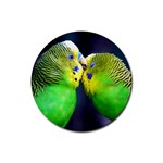 Kiss And Love Lovebird Rubber Coaster (Round)