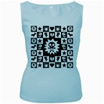 Gothic Punk Skull Women s Baby Blue Tank Top