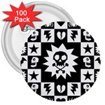 Gothic Punk Skull 3  Button (100 pack)