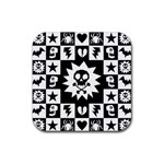 Gothic Punk Skull Rubber Square Coaster (4 pack)
