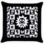 Gothic Punk Skull Throw Pillow Case (Black)