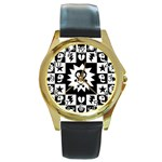 Gothic Punk Skull Round Gold Metal Watch