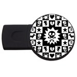 Gothic Punk Skull USB Flash Drive Round (2 GB)