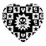 Gothic Punk Skull Heart Ornament (Two Sides)