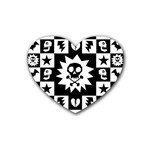 Gothic Punk Skull Rubber Coaster (Heart)