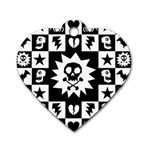 Gothic Punk Skull Dog Tag Heart (Two Sides)