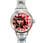 Love Heart Splatter Round Italian Charm Watch
