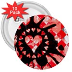 Love Heart Splatter 3  Button (10 pack)