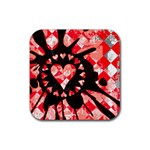 Love Heart Splatter Rubber Square Coaster (4 pack)