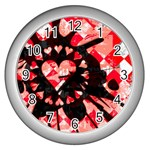 Love Heart Splatter Wall Clock (Silver)