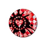 Love Heart Splatter Rubber Coaster (Round)