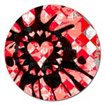 Love Heart Splatter Magnet 5  (Round)