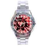 Love Heart Splatter Stainless Steel Analogue Men's Watch