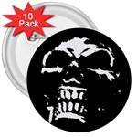 Morbid Skull 3  Button (10 pack)