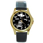 Morbid Skull Round Gold Metal Watch