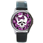 Pink Polka Dot Bow Skull Round Metal Watch