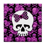 Pink Polka Dot Bow Skull Tile Coaster