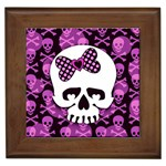 Pink Polka Dot Bow Skull Framed Tile