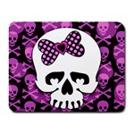 Pink Polka Dot Bow Skull Small Mousepad