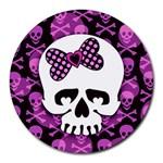 Pink Polka Dot Bow Skull Round Mousepad