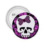 Pink Polka Dot Bow Skull 2.25  Button