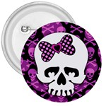 Pink Polka Dot Bow Skull 3  Button