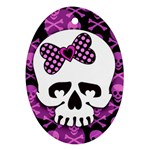 Pink Polka Dot Bow Skull Ornament (Oval)