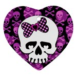 Pink Polka Dot Bow Skull Ornament (Heart)