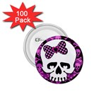 Pink Polka Dot Bow Skull 1.75  Button (100 pack)