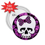 Pink Polka Dot Bow Skull 2.25  Button (100 pack)