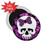 Pink Polka Dot Bow Skull 2.25  Magnet (100 pack)