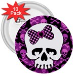 Pink Polka Dot Bow Skull 3  Button (10 pack)