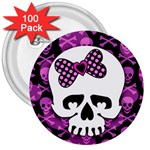 Pink Polka Dot Bow Skull 3  Button (100 pack)