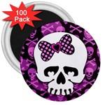 Pink Polka Dot Bow Skull 3  Magnet (100 pack)