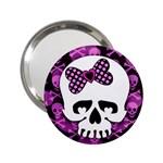 Pink Polka Dot Bow Skull 2.25  Handbag Mirror